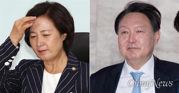 추미애 법무부장관(사진 왼쪽)과 윤석열 검찰총장(오른쪽).