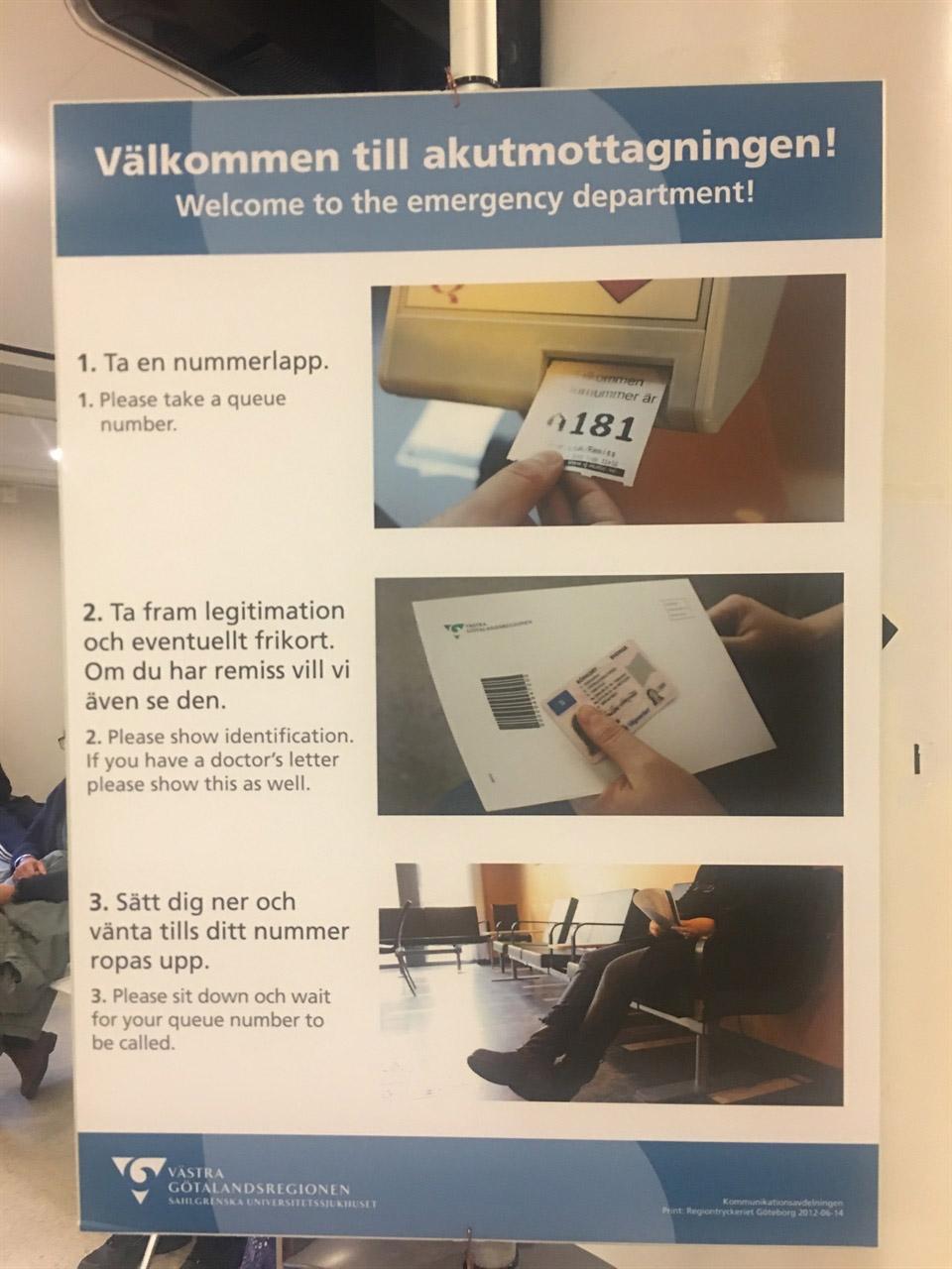 스웨덴 묀달Molndal에 위치한 종합병원 응급실 이용 안내문. 번호표를 뽑고 신분증(의사 소견서가 있다면 지참)을 들고서 이름이 호명될 때까지 기다려야 한다.