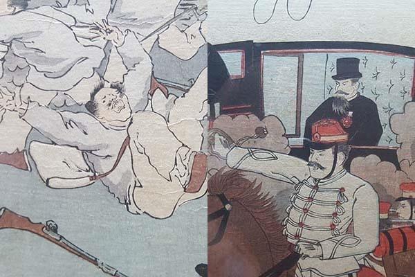 위 그림에서 조선인과 일본인을 확대해 나란히 붙인 그림