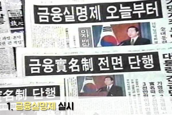 금융실명제 실시 보도(1993. 8. 12.)
