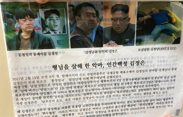 박대표가 북한에 살포한 전단 박대표가 북한에 살포한 전단은 북한 김정은 국무위원장을 '세습수령절대독재를 위해 형님(김정남)까지 독살한 희대의 악마, 인간백정'이라고 규정했다.