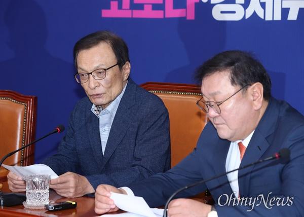 최고위 주재한 이해찬 더불어민주당 이해찬 대표가 8일 오전 서울 여의도 국회에서 최고위원회의를 주재하고 있다.