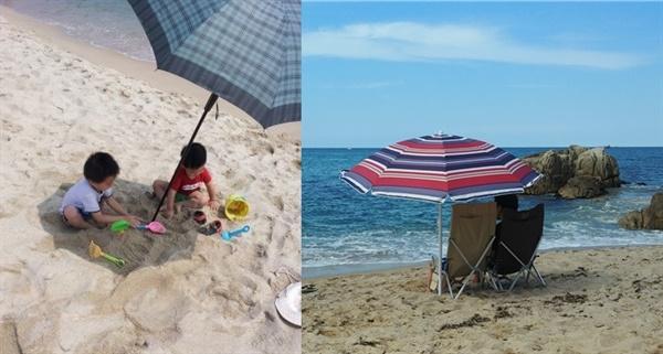 처음엔 햇빛을 가리기 위해 집에 있는 커다란 우산을 이용하다가, 2년전 파라솔을 구매했다.