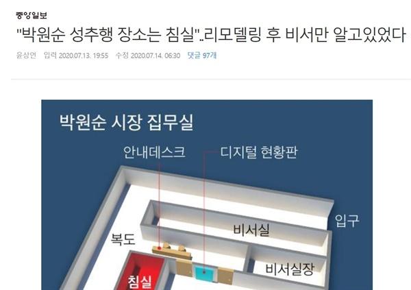 중앙일보는 14일자 신문에 고소인이 성추행 장소 가운데 하나로 지목한 박원순 시장 집무실 내 침실 위치를 표시한 인포그래픽과 옛 집무실 침실 사진을 실었다.(사진은 13일 온라인판 기사)
