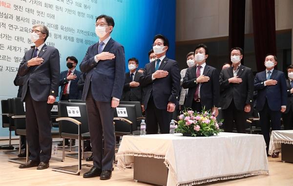 15일 오후 경상대에서 열린 권순기 총장 취임식.