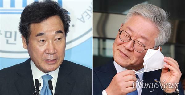 이낙연 더불어민주당 의원(서울 종로, 사진 왼쪽)과 이재명 경기도지사(사진 오른쪽).