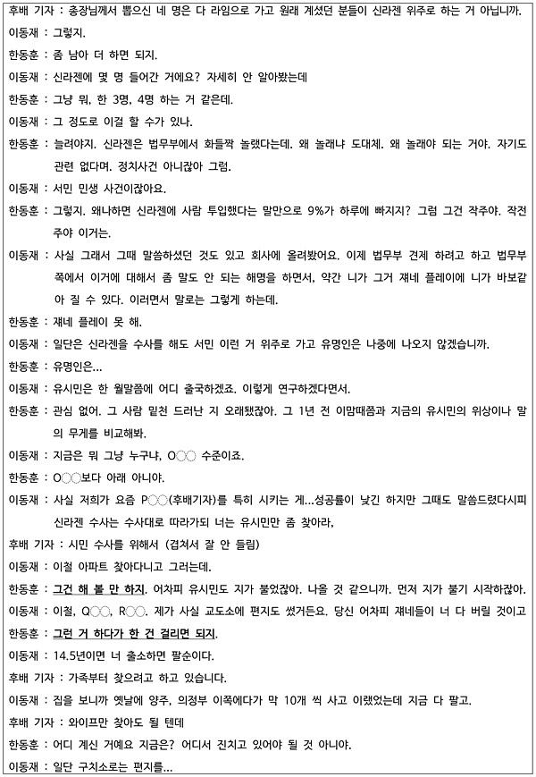 이동재 전 채널A기자 측 변호인이 21일 공개한 지난 2월 13일 한동훈 검사장과 채널A 이 전 기자 및 후배 백아무개 기자 사이의 대화 녹취록 1-6