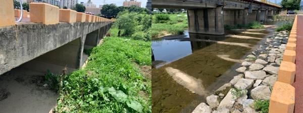 다리 하부가 콘크리트와 사석보호공으로 가득차있다. 하류로 비정상적으로 퇴적토가 쌓이고 있다.