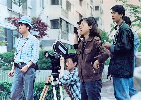 1989년 한겨레영화제작소 <하늘아래 방한칸> 촬영 현장