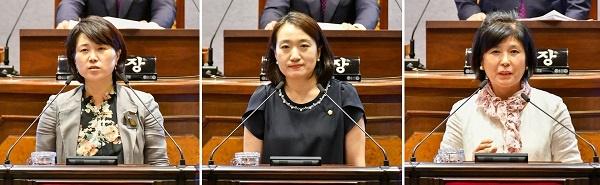 강남구의회 후반기 상임위원장으로 선출된 박다미(행정재경), 안지연(복지도시), 이향숙(운영) 의원이 당선 인사말을 하고 있다.(왼쪽부터)