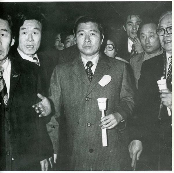 1976년 3.1 민주 구국선언 직후 촛볼시위에 나선 DJ