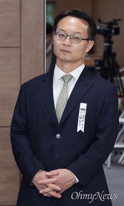 국회 기획재정위원인 조해진 미래통합당 의원이 28일 서울 여의도 국회 소통관에서 같은 당 위원들과 함께 긴급 기자회견을 하고 있다.