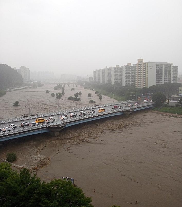 대전시 유등천 물이 불어 서구 복수동과 산성동을 잇는 버드내교 아래까지 물이 차 있다.
