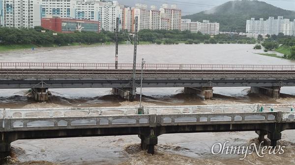 밤새 집중호우가 내린 대전 30일 오전 상황. 시간당 100mm 비가 내려 갑천 물이 불어나 있다.