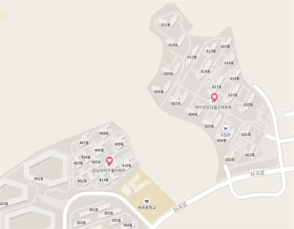서울시 자곡동에 위치한 아파트 단지 'LH강남브리즈힐'과 '래미안강남힐즈'