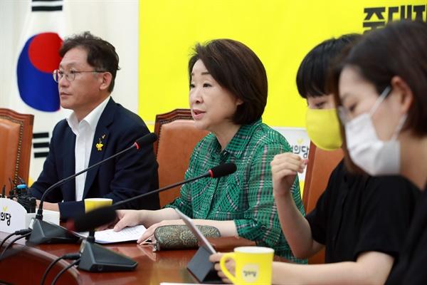정의당 심상정 대표가 4일 오전 서울 여의도 국회에서 열린 의원총회에서 발언하고 있다.