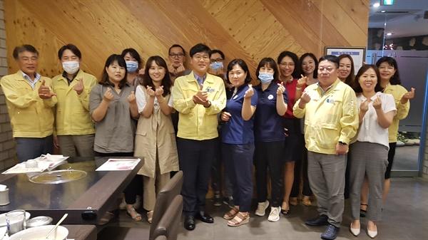 변광용 거제시장은 8월 6일 한 식당에서 선별진료소 관계자들과 오찬을 함께 했다.