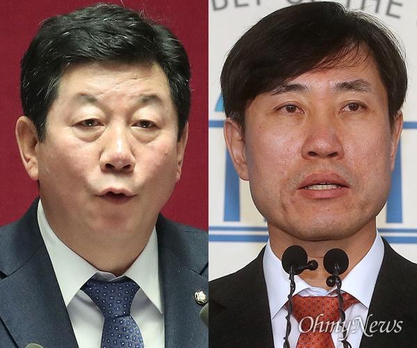 박재호 더불어민주당 부산시당 위원장과 하태경 미래통합당 부산시당 위원장.