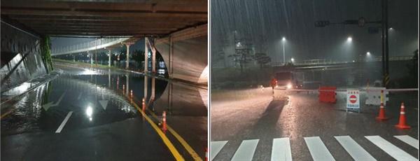 8월 7~8일 사이 내린 비로 진주 진양교 아래 도로가 침수되어 통제되고 있다.