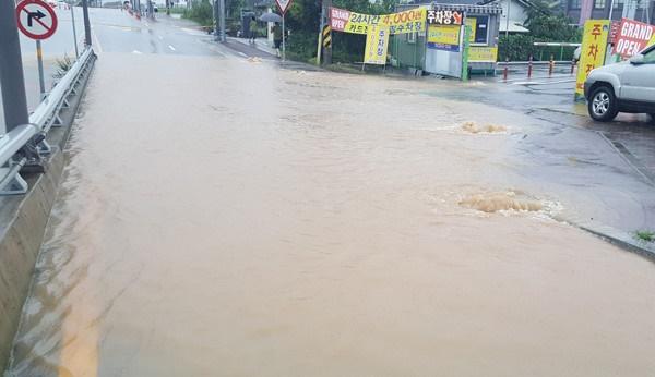 광산구 장록교 부근 통행로가 빗물에 잠긴 모습.