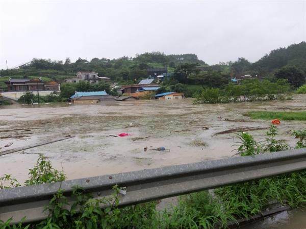 경남 사천시 축동면 가산리 용수마을 침수.