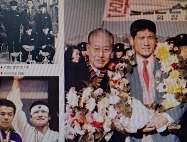 <사진으로 보는 양정 100년>에 실려 있는 조오련의 사진들. 아시안게임 환영식, 수영반 졸업 사진 등이다.