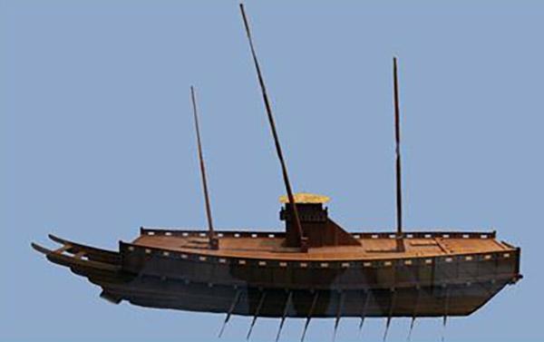 판옥선 모형(옥포대첩기념관 게시물을 촬영하여 보정한 후 바탕색을 깐 사진임)
