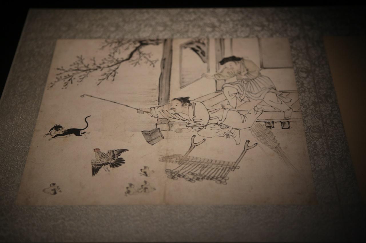 보물 제1987호 '김득신 필 풍속도 화첩' 중 야묘도추