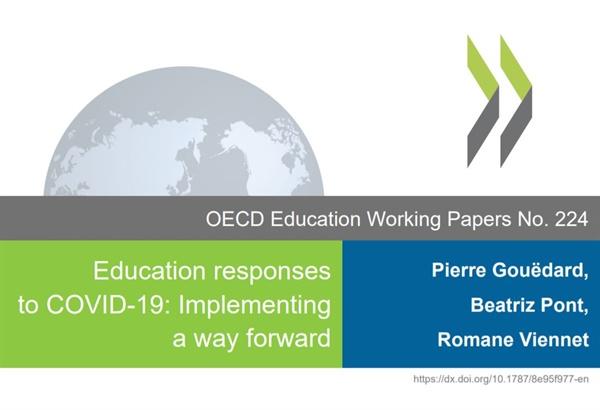OECD가 발표한 'COVID-19에 대한 교육적 대응: 앞으로 나아갈 방법 구현' 보고서(OECD Education Working Papers No. 224) 표지.
