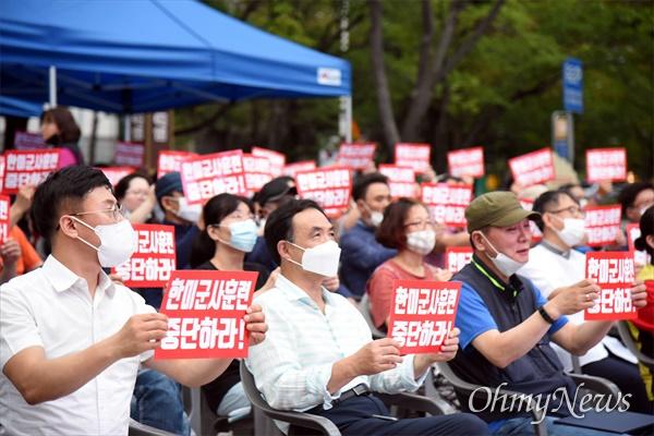 12일 저녁 대전평화의소녀상 앞에서 '광복75주년 대전 8.15민족자주대회'가 열렸다.