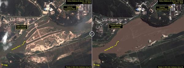 미국 북한전문매체 38노스는 북한 영변 핵시설 주변의 구룡강이 홍수로 범람했다고 12일(현지시간) 분석했다. 38노스에 따르면 7월 22일 촬영된 위성사진과 이번 달 6일 촬영된 위성사진을 비교해보면 구룡강 수위에는 큰 차이가 보인다.  구룡강 범람으로 핵시설 전력망, 냉각수 공급 파이프라인 등이 손상을 입었을 가능성이 있다면서 5메가와트(MW)급 원자로 및 실험용 경수로(ELWR)를 거론했다. 다만 지난 8~11일 영변 핵시설을 부분적으로 촬영한 위성사진에서는 불어난 강물이 빠진 것으로 나타났다. 이는 우라늄농축공장(UEP) 같은 중요시설들이 홍수피해를 피했을 수 있음을 시사한다고 38노스는 설명했다.  한편 통일부에 따르면 지난 1∼6일 북한 강원도 평강군에 내린 비는 854㎜로 북한 연평균 강우량(960㎜)에 거의 근접했다.  왼쪽 사진은 7월 22일 촬영된 우라늄농축공장(UEP) 일대의 위성사진. 오른쪽은 8월 6일 촬영된 같은 장소의 모습.