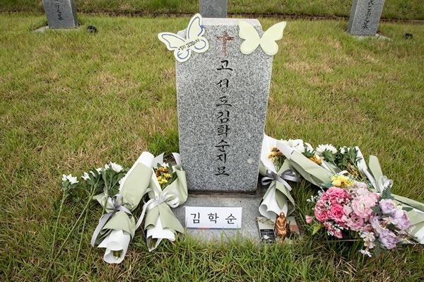 충남 천안 망향의동산 장미묘역에 있는 고 김학순 할머니 묘소. 고 김 할머니는 1991년 8월 14일 위안부 피해사실을 처음으로 공개증언했다.