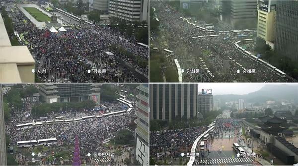 지난 15일 오후 서울 광화문광장 일대에서 일부 보수단체들이 문재인 정권 부정부패, 추미애 직권남용, 민주당 지자체장 성추행 규탄 집회를 개최하며, 세종대로를 점거했다.