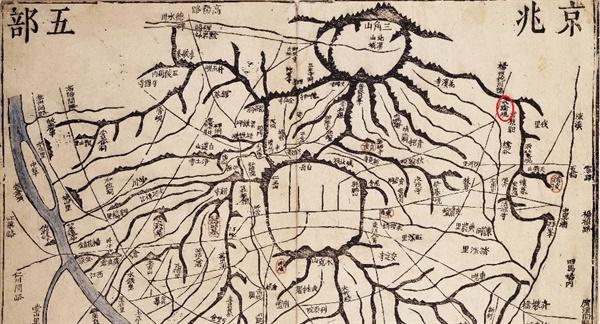 <대동여지도> '경조오부도'에 기록된 '수유현' <대동여지도>에서 한성 지역을 기록한 '경조오부도'이다. 오른쪽 빨간 타원이 '수유현'이다.