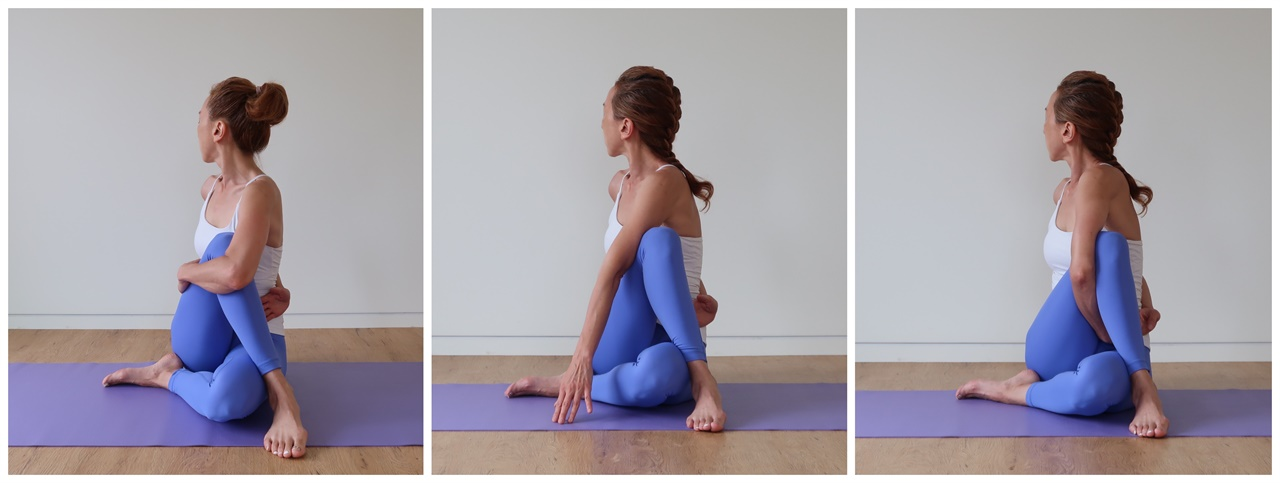 아르다마첸드라사나의 세가지 버전. 자신의 몸 상태에 따라 충분히 유지할 수 있는 자세를 취하고 목 앞쪽의 비슈다 차크라에 집중한다.