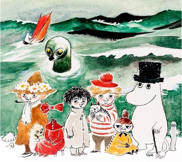 핀란드 무민미술관에서 전시 중인 바다 주제 작품에 나오는 등장인물들입니다.