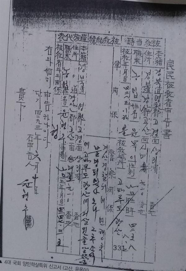제4대 국회에 제출한 윤목의 피해신고서