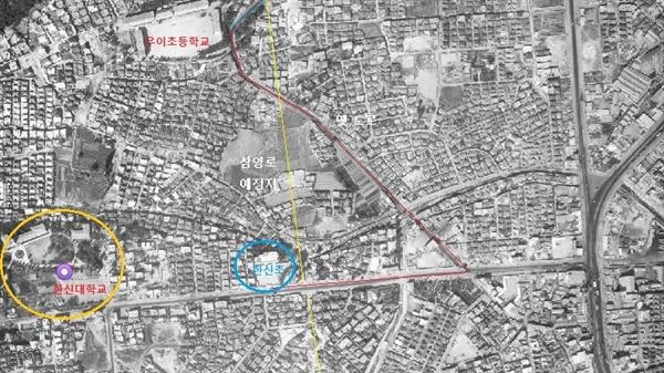 1973년 한신초등학교 인근 항공사진 1973년 당시 노란선으로 그린 삼양로는 없었고, 빨간선으로 그린 도로가 간선 도로 역할을 했다.
