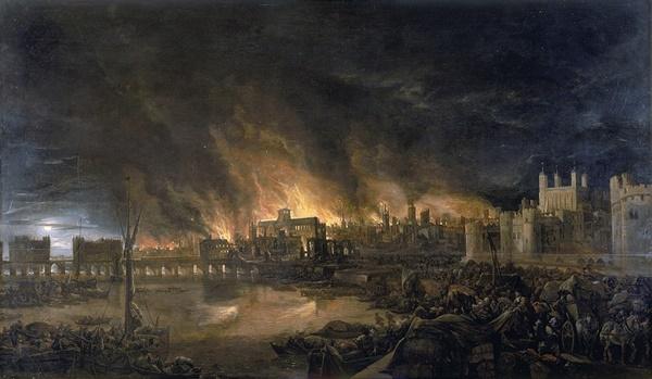 런던 대화재 당시에 그려진 그림.