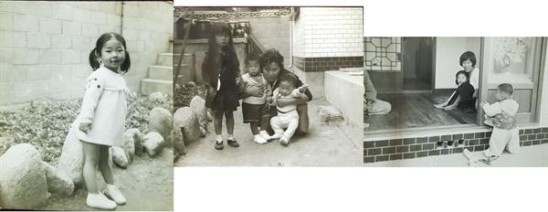 수유리 옛집  집 전체를 찍은 사진은 없지만 구조를 어느 정도 예상할 수 있다. 1967년 내 돌 즈음에 친척들이 모였다.