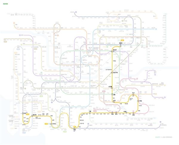 '수인선'이 포함된 지하철 노선도.