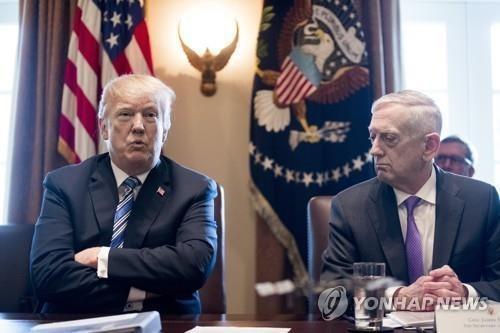 국무회의 주재하는 트럼프 도널드 트럼프 미국 대통령과 제임스 매티스(오른쪽) 국방부 장관