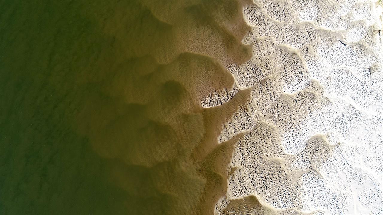 강물을 타고 온 모래들이 바람에 날리면서 멋진 그림을 그려 놓았습니다.