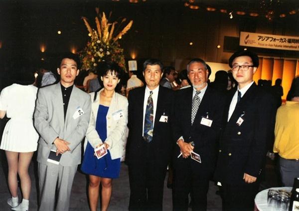 1992년 후쿠오카 영화제 참석한 김의석 감독, 심재명 대표, 임권택 감독, 정일성 촬영감독, 박종원 감독 등