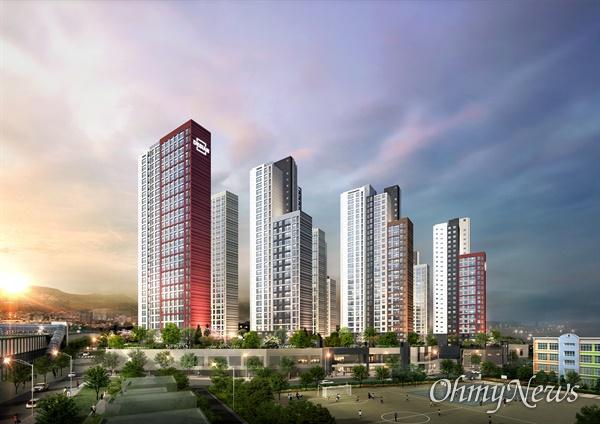 '태영건설이 오는 10월 동대구역 인근에 분양하는 '동대구 더 센트로 데시앙' 아파트 투시도.