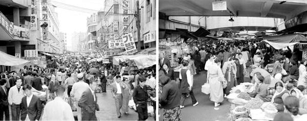 남대문 시장(1972) 1960년대에 300만 명이 넘은 서울 인구가 1990년대에는 천만 명이 훌쩍 넘어간다.