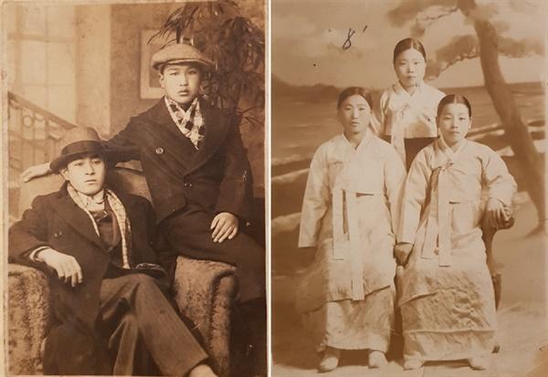 부모님 사진 오른쪽에 계신 분들이 나의 부모님이다. 1916년생인 아버지는 1930년대에, 1924년생인 어머니는 1940년대에 이 사진들을 촬영했다.