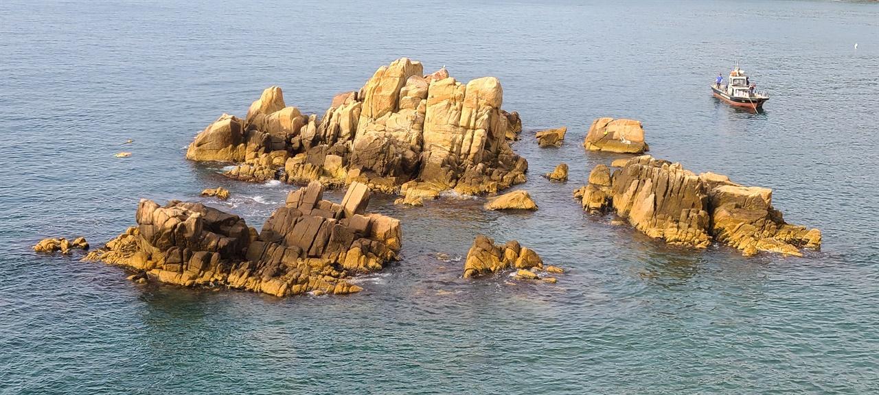 대왕암공원 바다   자의왕후가 자리 잡은 곳에는 바다풀이 자라지 않는다고 한다. 곳곳에 낚시꾼들이 있다.