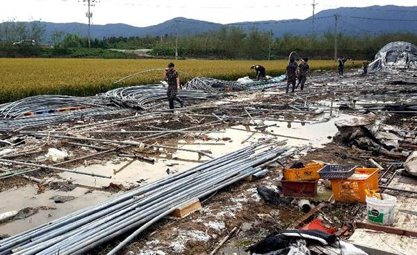 육군 제5870부대 3대대 장병들이 김해 태풍 피해 현장에서 복구 작업을 벌이고 있다.