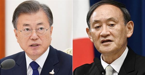 문재인 대한민국 대통령(왼쪽)과 스가 요시히데 일본 총리(오른쪽).